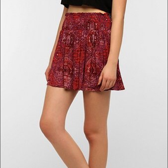 c6cc06a65 Urban Outfitters Skirts   Uo Ecote Boho Paisley Smocked Waist Mini ...